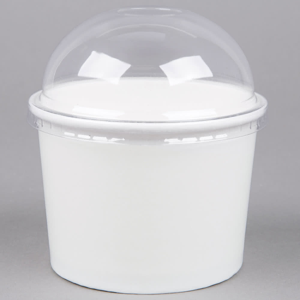 Clear Dome Lid no hole for Frozen Yogurt Ice Cream Cup 12 oz